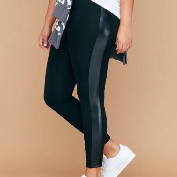 a71bf092839 Black Legging with Faux Leather Side Stripe NWT EF. NWT. Lane Bryant